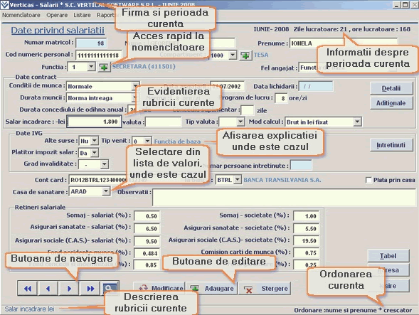 Elemente de interfata software salarii VertiSal